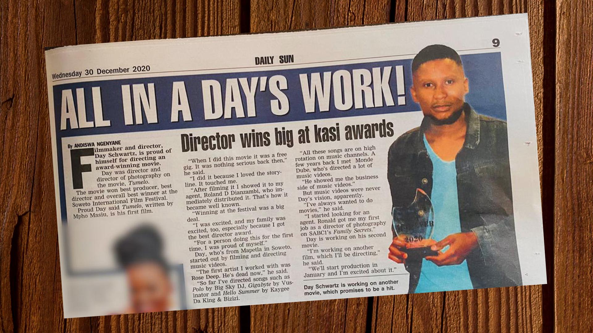 Award-winning Film Director Day Schwartz On Newspaper